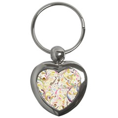 Colorful Seamless Floral Background Key Chains (Heart)