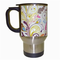 Colorful Seamless Floral Background Travel Mugs (White)