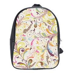 Colorful Seamless Floral Background School Bags(large)