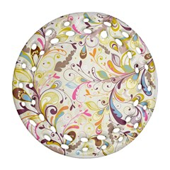 Colorful Seamless Floral Background Ornament (Round Filigree)