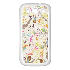 Colorful Seamless Floral Background Samsung Galaxy S3 Back Case (white)