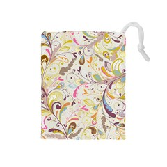 Colorful Seamless Floral Background Drawstring Pouches (medium)