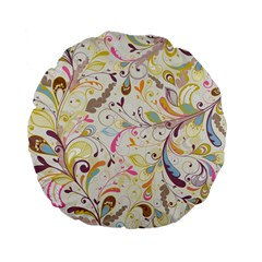 Colorful Seamless Floral Background Standard 15  Premium Flano Round Cushions