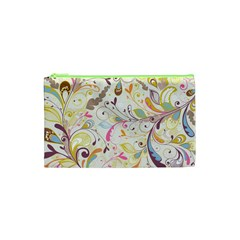 Colorful Seamless Floral Background Cosmetic Bag (xs)
