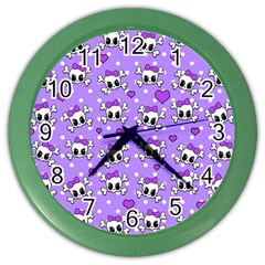 Cute skulls  Color Wall Clocks