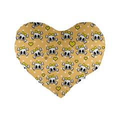 Cute skull Standard 16  Premium Flano Heart Shape Cushions