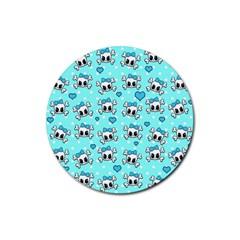 Cute skull Rubber Coaster (Round)