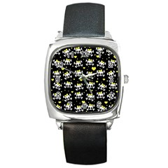 Cute skull Square Metal Watch