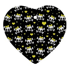 Cute Skull Heart Ornament (two Sides)