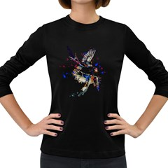 Colorful Love Birds Illustration With Splashes Of Paint Women s Long Sleeve Dark T-Shirts