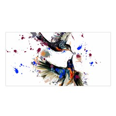 Colorful Love Birds Illustration With Splashes Of Paint Satin Shawl