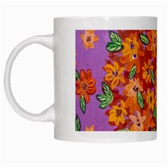 Floral Sphere White Mugs