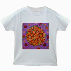 Floral Sphere Kids White T Shirts
