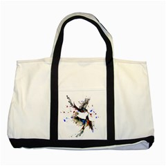 Colorful Love Birds Illustration With Splashes Of Paint Two Tone Tote Bag