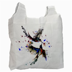 Colorful Love Birds Illustration With Splashes Of Paint Recycle Bag (One Side)
