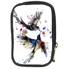 Colorful Love Birds Illustration With Splashes Of Paint Compact Camera Cases