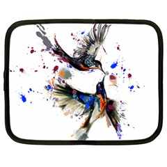 Colorful Love Birds Illustration With Splashes Of Paint Netbook Case (XL)