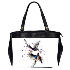 Colorful Love Birds Illustration With Splashes Of Paint Office Handbags (2 Sides)