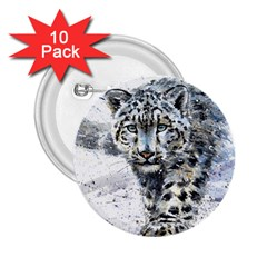 Snow Leopard 1 2 25  Buttons (10 Pack)