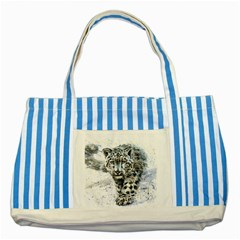 Snow Leopard 1 Striped Blue Tote Bag