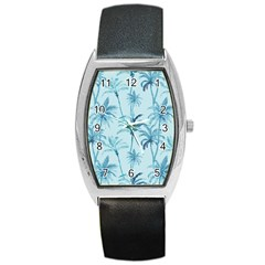 Watercolor Palms Pattern  Barrel Style Metal Watch