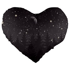 Night Full Star Large 19  Premium Flano Heart Shape Cushions