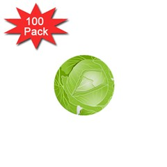 Cabbage Leaf Vegetable Green 1  Mini Buttons (100 pack)