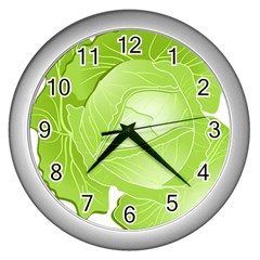 Cabbage Leaf Vegetable Green Wall Clocks (Silver)
