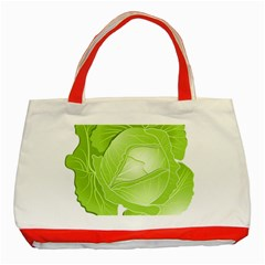 Cabbage Leaf Vegetable Green Classic Tote Bag (red)