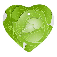 Cabbage Leaf Vegetable Green Heart Ornament (Two Sides)