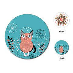 Cat Face Mask Smile Cute Leaf Flower Floral Playing Cards (Round)