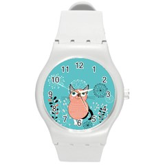 Cat Face Mask Smile Cute Leaf Flower Floral Round Plastic Sport Watch (M)
