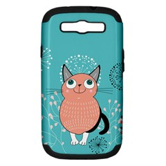 Cat Face Mask Smile Cute Leaf Flower Floral Samsung Galaxy S Iii Hardshell Case (pc+silicone)