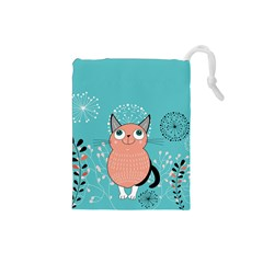 Cat Face Mask Smile Cute Leaf Flower Floral Drawstring Pouches (Small)