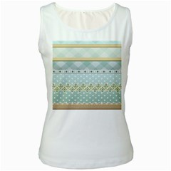 Circle Polka Plaid Triangle Gold Blue Flower Floral Star Women s White Tank Top
