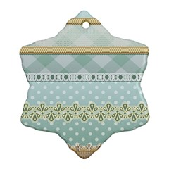 Circle Polka Plaid Triangle Gold Blue Flower Floral Star Snowflake Ornament (two Sides)