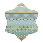 Circle Polka Plaid Triangle Gold Blue Flower Floral Star Snowflake Ornament (Two Sides) Back