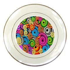 Circle Round Hole Rainbow Porcelain Plates