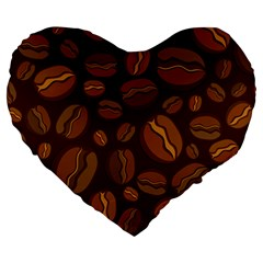 Coffee Beans Large 19  Premium Heart Shape Cushions
