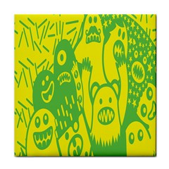 Easter Monster Sinister Happy Green Yellow Magic Rock Tile Coasters