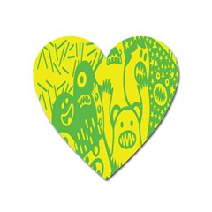 Easter Monster Sinister Happy Green Yellow Magic Rock Heart Magnet