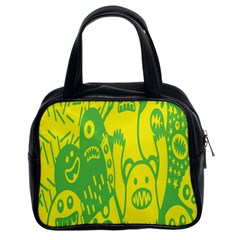 Easter Monster Sinister Happy Green Yellow Magic Rock Classic Handbags (2 Sides)