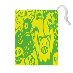 Easter Monster Sinister Happy Green Yellow Magic Rock Drawstring Pouches (Extra Large)