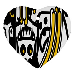 Easter Monster Sinister Happy Magic Rock Mask Face Polka Yellow Heart Ornament (Two Sides)