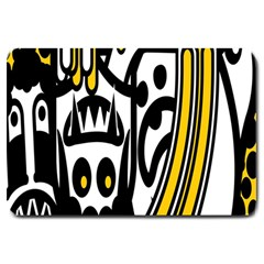 Easter Monster Sinister Happy Magic Rock Mask Face Polka Yellow Large Doormat