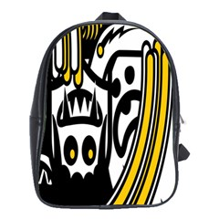 Easter Monster Sinister Happy Magic Rock Mask Face Polka Yellow School Bags(Large)