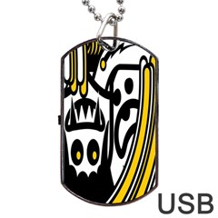 Easter Monster Sinister Happy Magic Rock Mask Face Polka Yellow Dog Tag USB Flash (One Side)