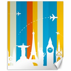 Eiffel Tower Monument Statue Of Liberty Canvas 16  x 20