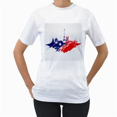 Eiffel Tower Monument Statue Of Liberty France England Red Blue Women s T-Shirt (White) (Two Sided)