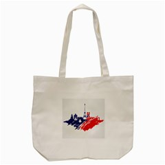 Eiffel Tower Monument Statue Of Liberty France England Red Blue Tote Bag (Cream)